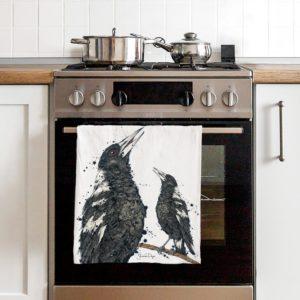 Tea Towel, 100% organic cotton, Australian Bird Art, Kitchen Towel, Kitchen decor, product, Australian Designed and Printed, Magpie, Black and White